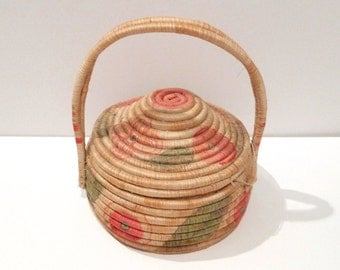 Mexican Toluca Woven Coil Basket Vintage Large Lidded Basket Carrying Storage Folk Art Toluca Central Mexico Craft 40s 1950s Basket with Lid