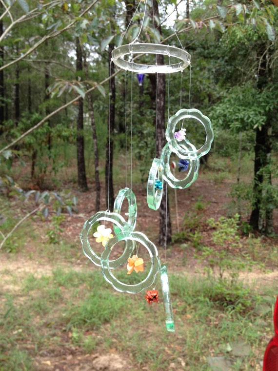 Glass windchime from recycled antique by liftingupspirits for Wind chimes from recycled materials
