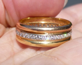 WIDE  Custom Made 76 ctw Natural Diamond 14k yellow and white Gold Rose Gold Eternity Band Ring size 7 1/2
