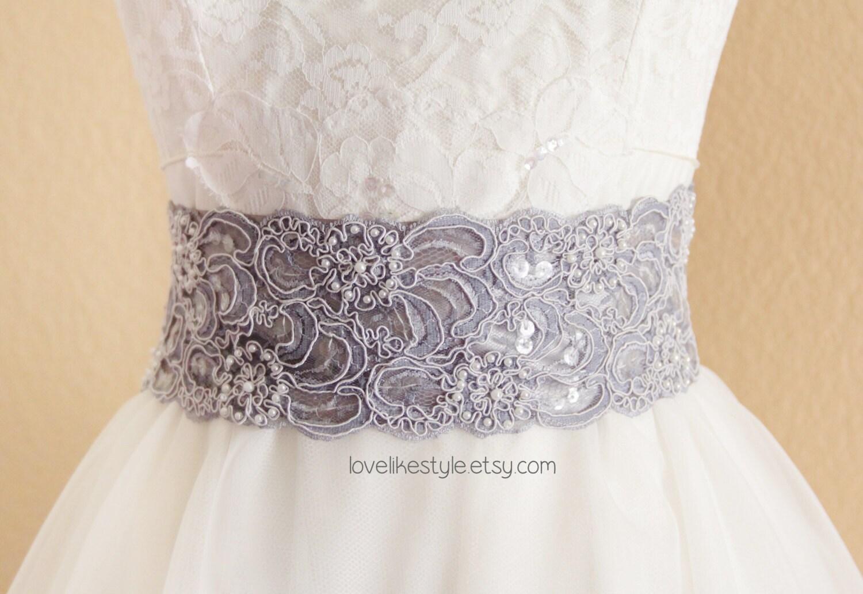 Gray Beaded Alencon Lace Sash Belt Bridal Sash By Lovelikestyle