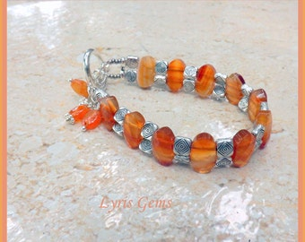Carnelian Bracelet, Carnelian  Bangle Handmade by Lyrisgems