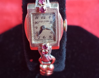Terrific Art Deco BULOVA 14K Solid Rose Gold 4 Rubies Ladies Watch SERVICED Offers Encouraged Look and Shop for Birthdays Anniversaries Now