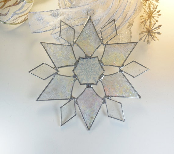 Star. Snowflake  With A Snowflake Pattern In The Middle. Holiday ornament. Suncatcher. No. 23.