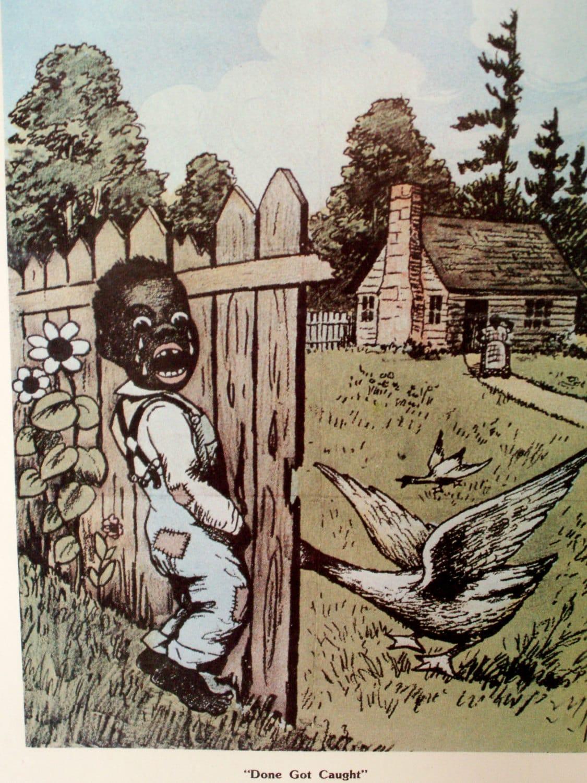 Vintage Black Americana African American Young Boy Framed Art