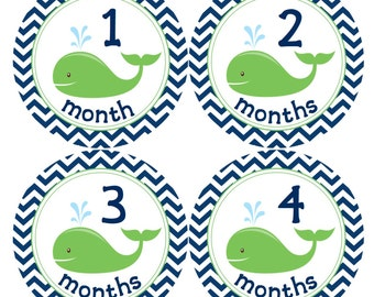 READY TO SHIP Baby Nautical Monthly Stickers Navy Chevron and Green Whales Nautical Baby Shower Gift  Monthly Creeper Bodysuit Stickers