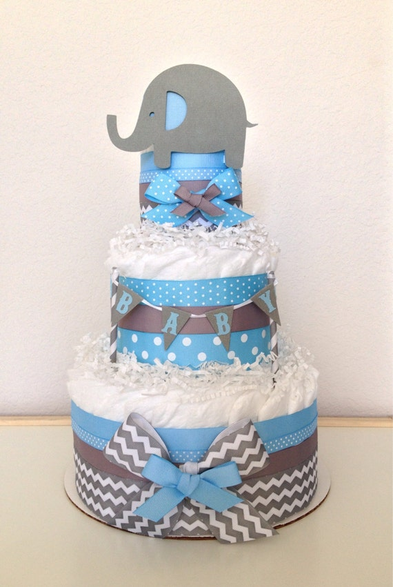 Chevron Gray and Light Blue Lil' Peanut Elephant Diaper Cake Baby Shower Centerpiece