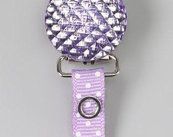 Purple Polka dot Ribbon with Crystal Pacifier holder (RQPU)