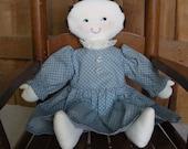 Primitive Style Handmade Rag Doll In Blue Dress