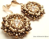 SuperDuo Bead TUTORIAL, Calipso earrings tutorial with Swarovski rivoli