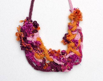 Statement bib necklace, knitted fiber jewelry with sequins, orange pink fuchsia burgundy, OOAK