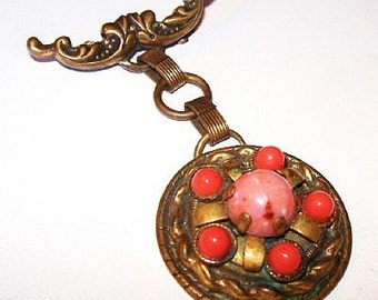 """Coral Brooch Pin Dangle Style Coral Domed Cabochons Brass Metal Art Deco Vintage Jewelry 2.5"""""""