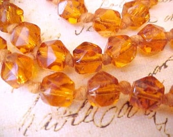 Beautiful Art Deco Era Bead Necklace-Deep Topaz with a Hint of Orange