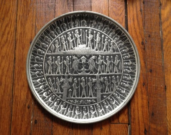 Silver Medieval Repousse Wall Plate