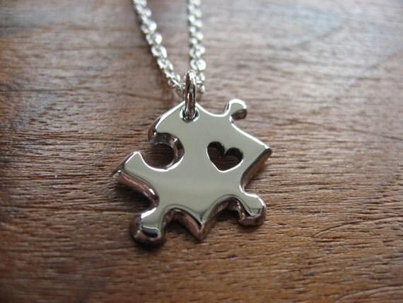 Miniature Puzzle Piece with Heart Silver Pendant Necklace