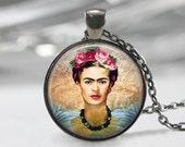 Frida Kahlo Necklace, Feminists Artist Jewelry, Art Pendant