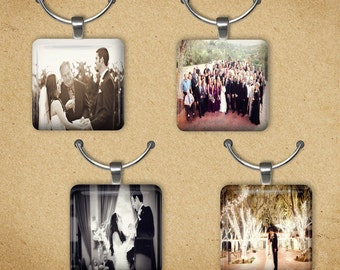 Custom Photo Set of 25 Wine Charms, Engagement Party, Bridal Shower, Wedding Favors