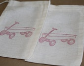 Set of 10 Hand stamped Red Wagon Kids Birthday Party Muslin Gift Favor Bags100% organic made in america
