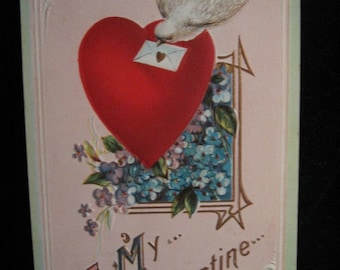THREE 1910 VALENTINE'S DAY Postcards Vintage Valentine  Pottstown Pa To Emerson Bealer From Percy Yoos