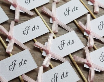 12 Cupcake Picks - I do - Blush Pink Bows