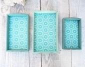 Tray Set - Small Nesting Shabby Chic Trays - Set of 3 Wood Teal / Aqua Trays