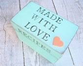 """Seafoam Hearts SHABBY CHIC / Rustic Wood Recipe Box STAMPED with """"Made With Love"""" on Top"""