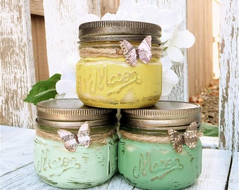 Shabby Chic Jar Candles - Set of Three (3) Painted Mason Jar Candles