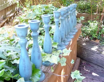 Set of 10 SHABBY CHIC Blue Chippy Candle Holders
