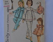 vintage pattern Simplicity #3690 child size 6 pajamas and pillow