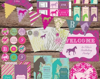 Equestrian Horse Birthday Large Party Pack Set - Package B - Digital Printable