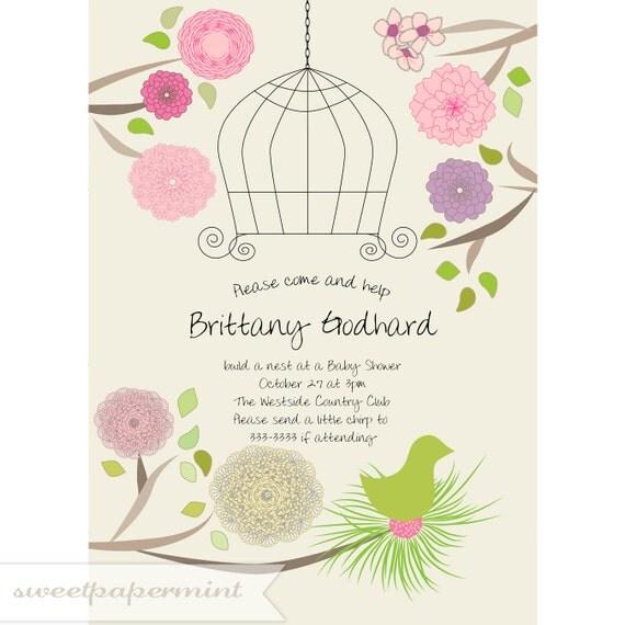 Bird cage baby or wedding shower invitation card ball jar newborn il570xn stopboris Gallery