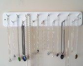 White Necklace Jewelry Rack Organizer Wooden With Rounded Corner Design