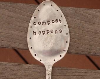 Compost Happens hand stamped spoon vintage Garden Art LARGE Vintage Silver Plate Garden Marker