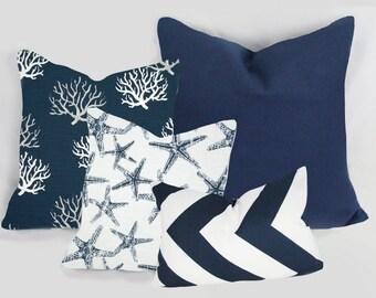 Navy Indigo Blue - Decorative Pillow Cushion Covers - Accent Pillow - Throw Pillow - Indigo