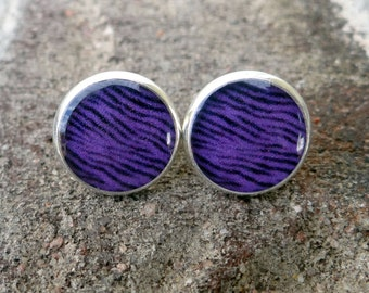 Purple Zebra Silver Stud Earrings - Vintage, Rockabilly, Psychobilly - Poofhawk