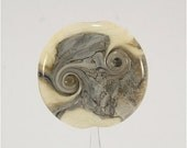 FireSong Creations Artisan Handmade Lampwork Bead SRA  Ivory Grey Black Australian Wandarrah