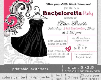 Printable Little black dress Lingerie Shower Bachelorette Party Invitation Template