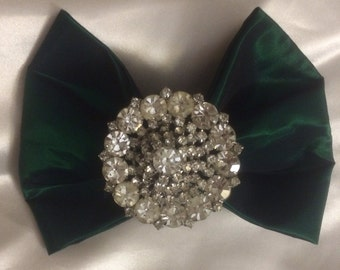 Green Taffeta bow