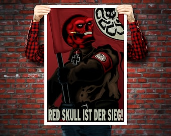 Red Skull Is Victory! WWII-era Propaganda Painting