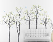 Birch Forest and Flying Birds Wall Decal, Birch Tree Wall Decal for Home Decor, Nursery, Kids or Childrens Room 005