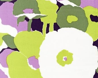 Robert Kaufman - Auntie's Attic - Large Painted Florals - Lime - Cotton Canvas -Choose Your Cut 1/2 or Full Yard