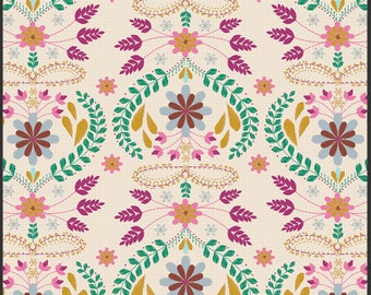 Art Gallery Fabric - Bijoux Collection - Embroidery's Fortune Rose - Bari J. -Choose Your Cut 1/2 Yard or Full Yard
