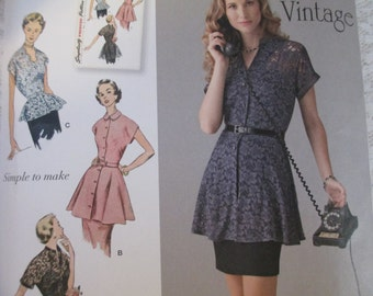 Retro Blouses and Tunics - Simplicity 1460 - New Sewing Pattern, Sizes 6-14