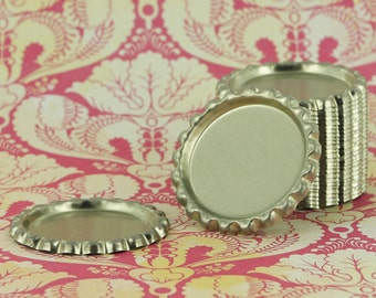 100  - Silver Flattened Bottle Caps/Crown Caps - Linerless/Without Liner for Badge Reels, Bottle Cap Bows, Necklaces and more