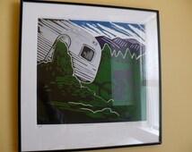 Downhiller, A Framed Linoleum Print/Linocut/Block Print of a Downhill Mountain Biker Bike Landscape Scenery Purple Green Silver Airstream
