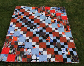 Patchwork Lap Quilt in Red Blue Black and White