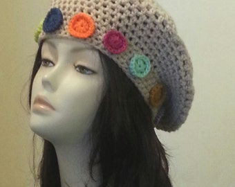 Crocheted Beret Hat - Boho - Chunky Beret - Slouch Hat - Flower hat - FREE UK delivery