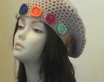Crocheted Beret Hat - Boho - Beret - Slouch Hat - Flower hat - FREE UK DELIVERY