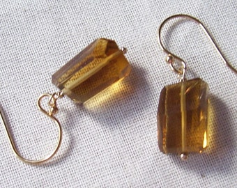 Beer Quartz Step Cut Nugget Earrings with 14k Gold Filled Earwires