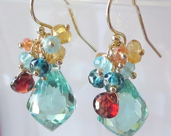Evening Waterscape Gemstone and Gold Earrings