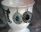 Oval Filigree with Green Resin Center - Dangle Earrings